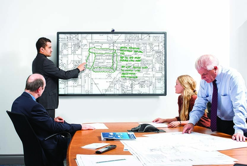Having a meeting in front of a large touch screen display.