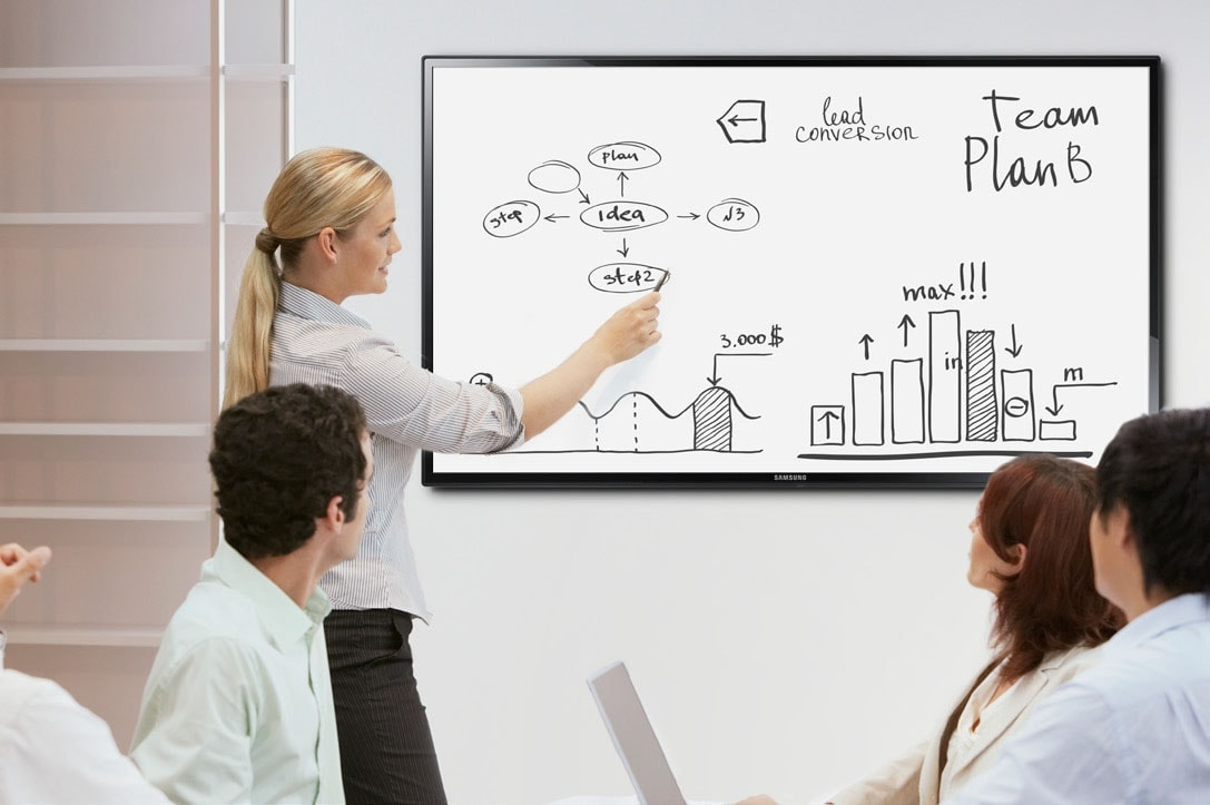 A team collaborates using a giant touch screen monitor